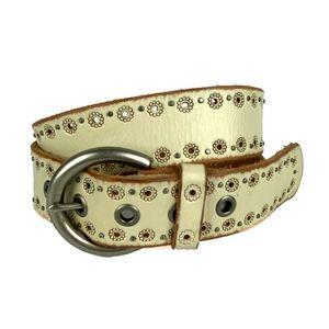 FOSSIL Ivory Genuine Leather Fashion Studded Belt